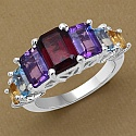 3.32CTW Genuine Multigemstone .925 Sterling Silver Ring