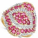 2.52CTW Genuine Ruby 14K Yellow Gold Plated .925 Sterling Silve