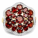 5.17CTW Genuine Garnet 14K Yellow Gold Plated .925 Sterling Sil