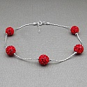 3.00CTW Red Crystal .925 Sterling Silver Ball Shape Bracelet