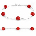 3.20 Grams Red Crystal .925 Sterling Silver Ball Shape Brace