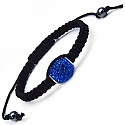 4.70 Grams Blue Cubic Zirconia .925 Sterling Silver & Black Adj