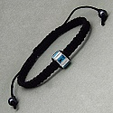4.80 Grams Blue Cubic Zirconia .925 Sterling Silver & Black Adj