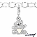 3.40 Grams Rhodium Plated .925 Sterling Silver Teddy Shape W