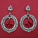 13.30Grams Pink & White Cubic Zirconia .925 Sterling Silver Ear