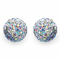2.40 Grams Rainbow Crystal .925 Sterling Silver Ball Shape Earr