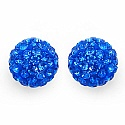 1.80 Grams Blue Crystal .925 Sterling Silver Ball Shape Earring