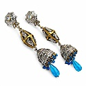 48.40 Grams White Cubic Zirconia & Blue Glass Gold Plated Br