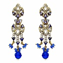 20.00 Grams White Cubic Zirconia & Blue Glass Gold Plated Br