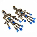 57.40 Grams White Cubic Zirconia & Blue Glass Gold Plated Br