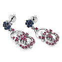 8.53 Grams Genuine Blue Sapphire & Ruby Rhodium Plated Brass