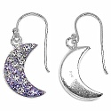 1.60 Grams Purple & White Crystal .925 Sterling Silver Moon