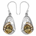 7.30 Grams Citrine & White Cubic Zircon Silver & Copper Earring