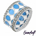 4.50Grams White Cubic Zircon .925 Sterling Silver Blue & White