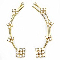 4.20 Grams White Cubic Zirconia Gold Plated Brass Ear Wraps