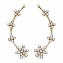 5.40 Grams White Cubic Zirconia Gold Plated Brass Ear Wraps