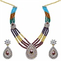 71.60 Grams Multicolor Glass & White Cubic Zirconia Gold Plated