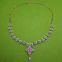 26.50 Grams Ruby & American Diamond Gold Plated Brass Neckla