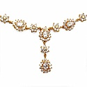 34.41 Grams White Cubic Zirconia Gold Plated Brass Necklace