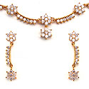 23.02 Grams White Cubic Zirconia Gold Plated Brass Necklace