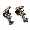 34.50 Grams Green Onyx & White Cubic Zirconia Gold Plated Br