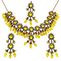 98.20 Grams White Cubic Zirconia & Yellow Glass Gold Plated