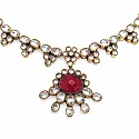 49.20 Grams White Cubic Zirconia & Red Glass Gold Plated Bra