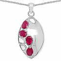 3.36CTW Pink Cubic Zirconia .925 Sterling Silver Pendant