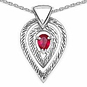 1.43CTW Pink Cubic Zirconia .925 Sterling Silver Pendant
