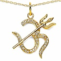 0.68CTW White Cubic Zirconia Brass Gold Plated Om With Tride