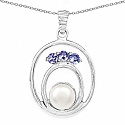 2.30CTW Genuine Tanzanite & Pearl .925 Sterling Silver Pendant