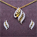 3.20 Grams White Cubic Zirconia Gold Plated Brass Pendant Se