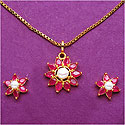 5.70 Grams Ruby & Pearl Gold Plated Brass Pendant Set