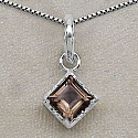 9.00 Grams Genuine Smoky Topaz Brass Square Shape Pendant Se