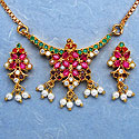 14.40 Grams Navratna Gold Plated Brass Pendant set