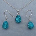 4.94 Grams Turquoise Crystal .925 Sterling Silver Drop Shape Pe