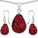 4.84 Grams Red Crystal .925 Sterling Silver Drop Shape Pendant
