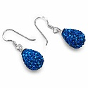 4.94 Grams Blue Crystal .925 Sterling Silver Drop Shape Pend