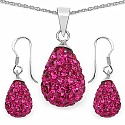 5.34 Grams Pink Crystal .925 Sterling Silver Drop Shape Pendant