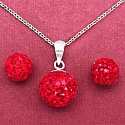 3.34 Grams Red Crystal .925 Sterling Silver Ball Shape Pendant