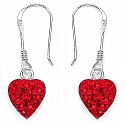 1.48CTW Red Crystal .925 Sterling Silver Heart Shape Pendant