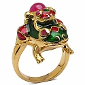 3.50 Grams Red Synthetic Stone & Ruby Gold Plated .925 Sterling