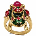 3.50 Grams Red Synthetic Stone & Ruby Gold Plated Silver & Copp
