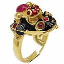 9.00 Grams Red Synthetic Stone & Ruby Gold Plated .925 Sterling