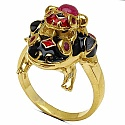 9.00 Grams Red Synthetic Stone & Ruby Gold Plated Silver & Copp
