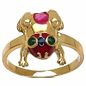 3.40 Grams Red & Green Synthetic Stone Gold Plated Silver & Cop