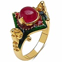 7.40 Grams Red Synthetic Stone Gold Plated Silver & Copper Gree