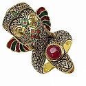 19.00 Grams Red Synthetic Stone Gold Plated .925 Sterling Silve