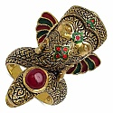 19.00 Grams Red Synthetic Stone Gold Plated Silver & Copper Lor