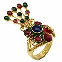 10.20 Grams Gold Plated Silver & Copper Peacock Shape Red, Gree